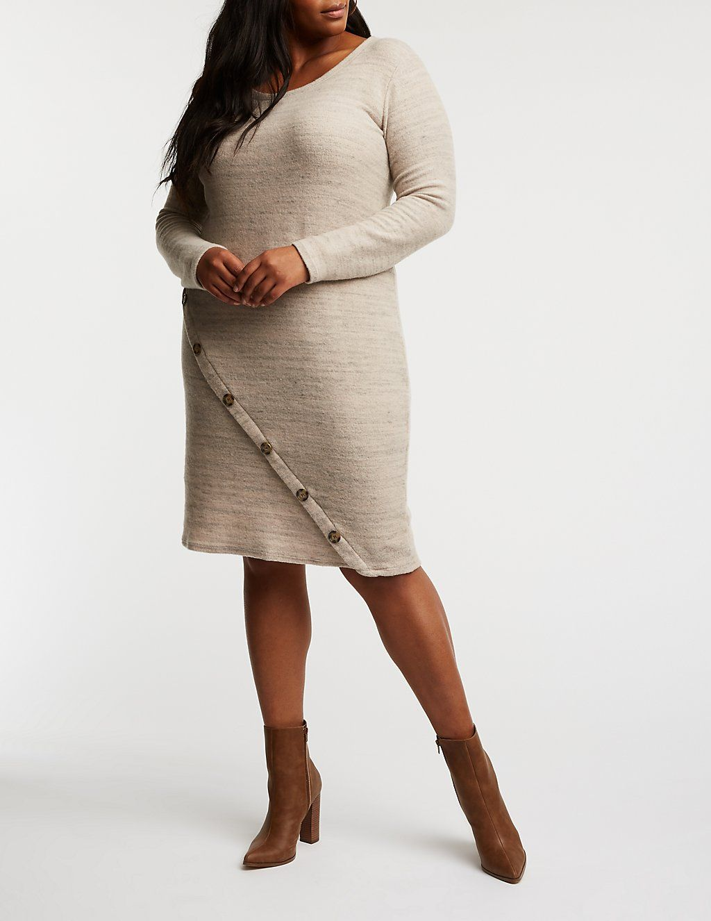 Plus Size Asymmetrical Button Up Sweater Dress  b65ca3512