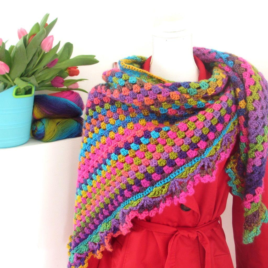 Rainbow Shawl Fenna | wibra | Pinterest | Tücher, Handarbeiten und ...
