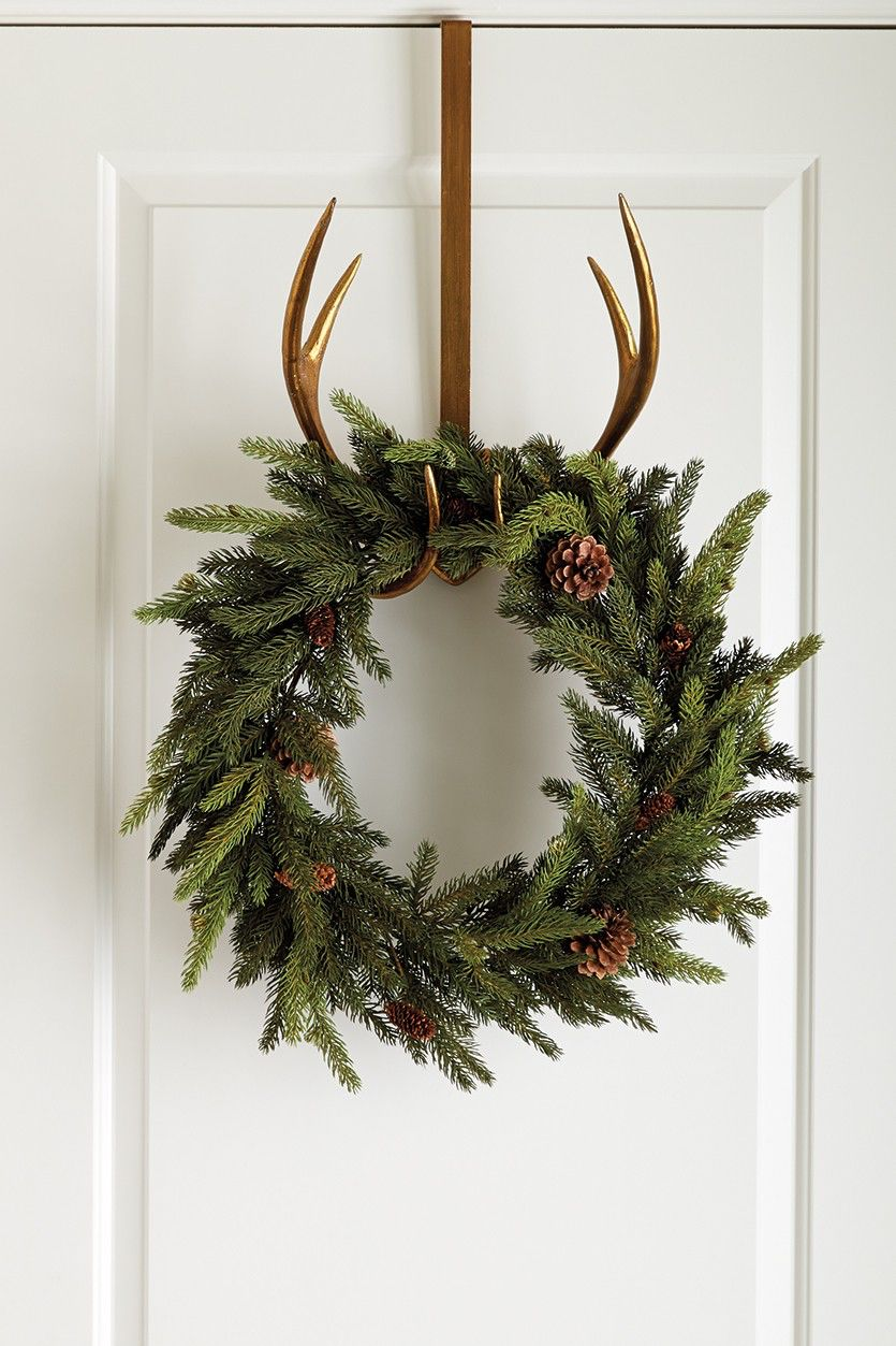 holiday christmas antler wreath - 736×1104