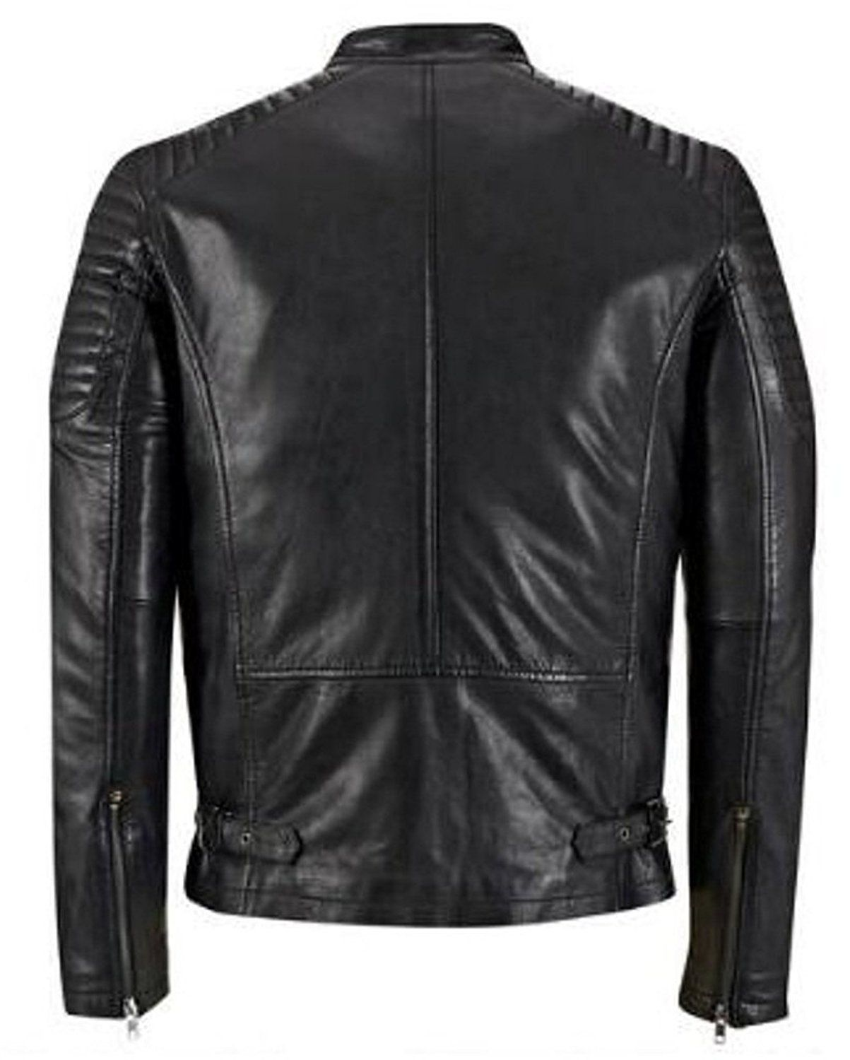 The Leather Factory Men S Genuine Lambskin Leather Jacket With Quilted Shoulders At Amazon Men S Clot Leather Jacket Men Leather Jacket Lambskin Leather Jacket [ 1500 x 1203 Pixel ]