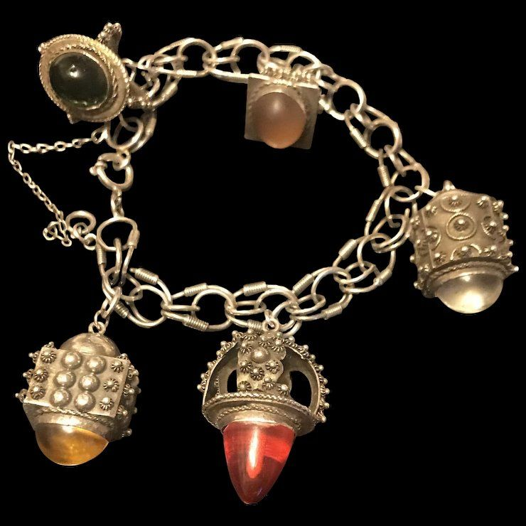 69068665f36 Antique Italian Etruscan 800 Silver Huge 6 Fob Charms Bracelet ...