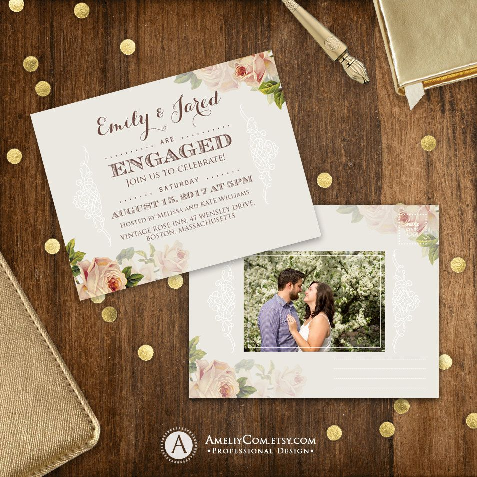 Printable Engagement Invitation Rustic Engaged party invitation