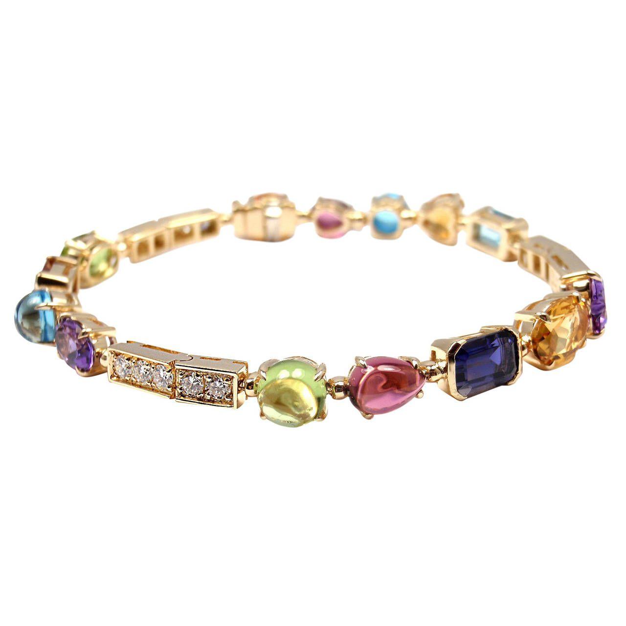 Bulgari Allegra Gemstone Diamond Gold Link Bracelet
