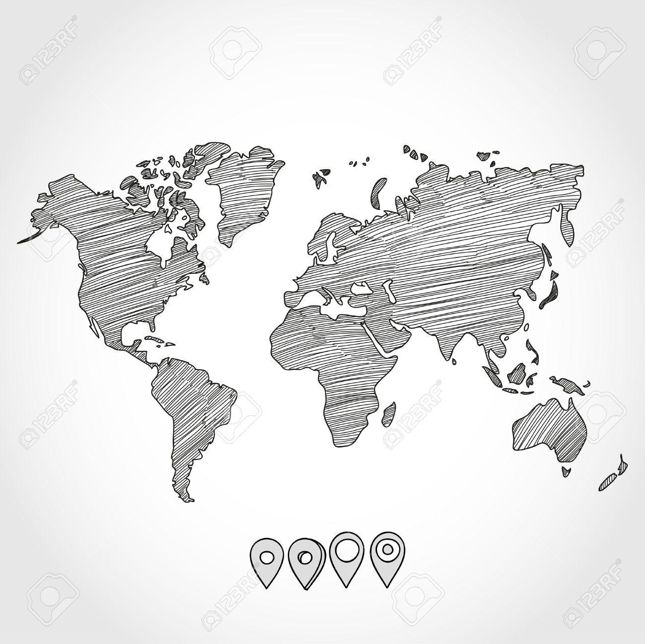 Weltkarte Von Hand Gezeichnet In 2019 Weltkarte Weltkarte
