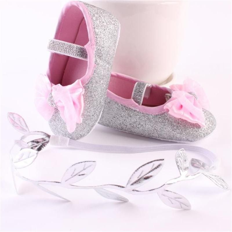 Glitter+Bow Soft Sole Flats – Bitty Botty Baby 39944f1f2789