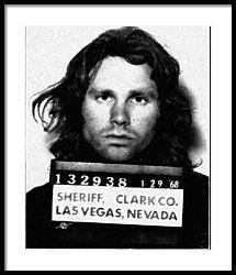 Jim Morrison Mug Shot 1968 Painting Black And White Framed Print by Tony Rubino