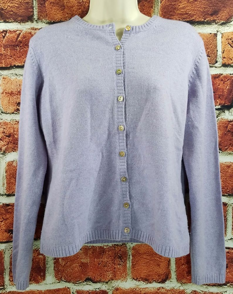 Womens LL Bean Light Purple Lambs'Wool Nylon Cardigan Sweater Size ...