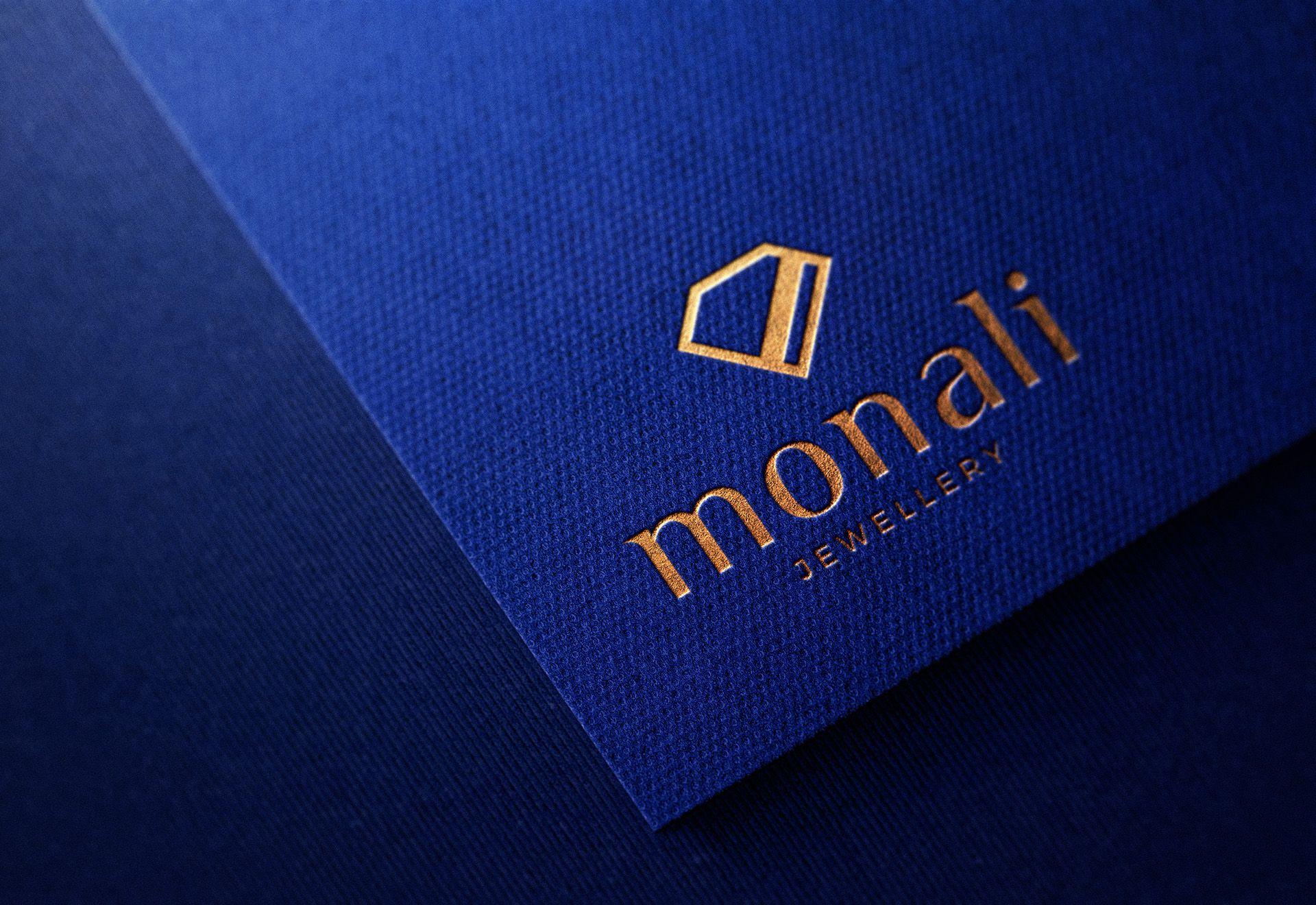 Luxury embossed logo mockup on blue paper logo mockup
