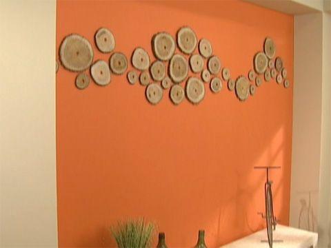 Utilisima Vídeos Pared naranja con troncos NARANJA DECORACION