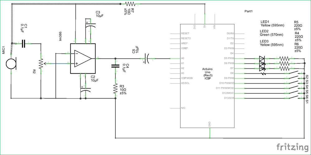 Arduino Guitar Tuner Circuit Diagram Arduino Projects In 2018