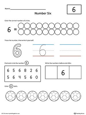 Number 6 Practice Worksheet | Numbers & Counting | Numbers ...