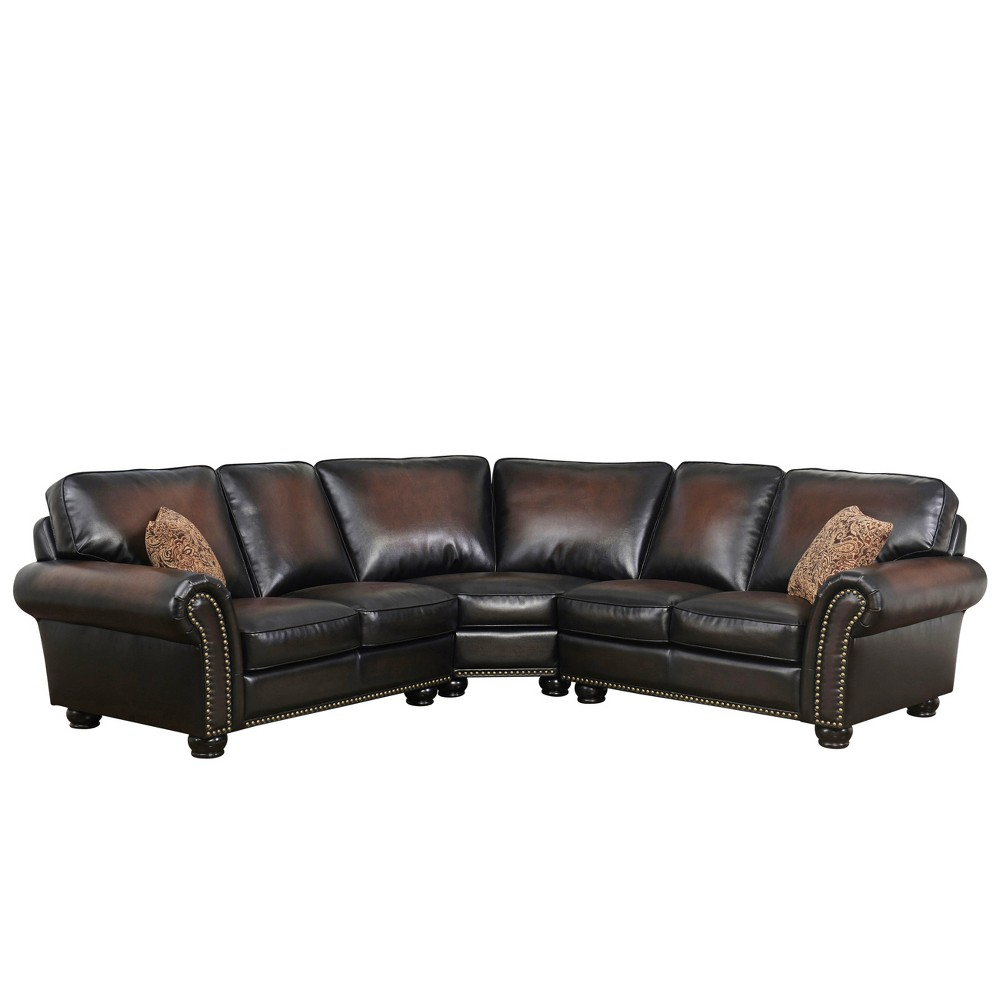 Best Mervin Bonded Leather 3 Piece Sectional Brown Abbyson 640 x 480