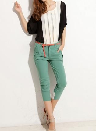 Chiffon Color Block Pleated Front Blouse with Round Neck,  Top, pleated top  sheer blouse, Chic