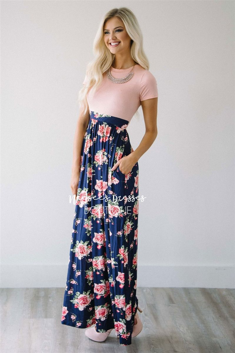 Perfection in maxi dress! The Cambry has the cutest fit. Featuring a pale  pink bodice and following by a waist band and flowy navy maxi skirt with a  small ... 1d3096e46