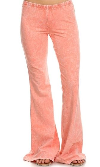 Saturday Morning Coral Peach Acid Wash Elastic Waist Bell Bottom Stretch Pants