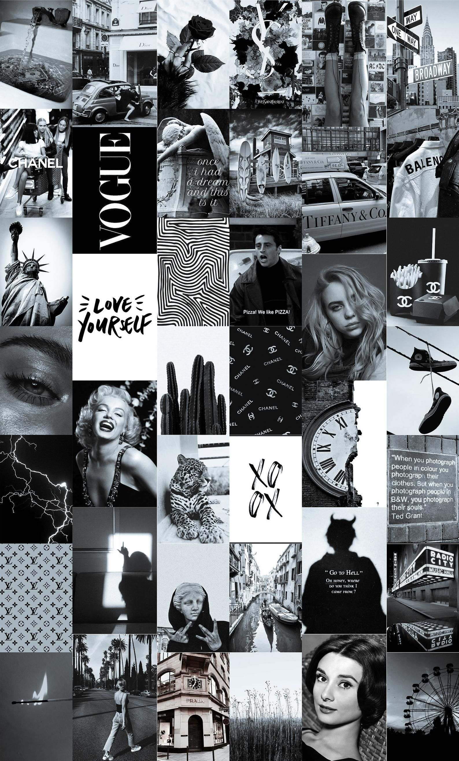 New York Wall Collage Kit Black And White Aesthetic Wall Etsy Black Aesthetic Wallpaper Black And White Picture Wall Black And White Aesthetic