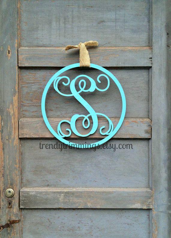 Wooden Monogram Letter With Circle Border Interlocking Script Initial Door Hanger Wreath For Your Wooden Monogram Letters Wooden Monogram Door Wreath Hanger