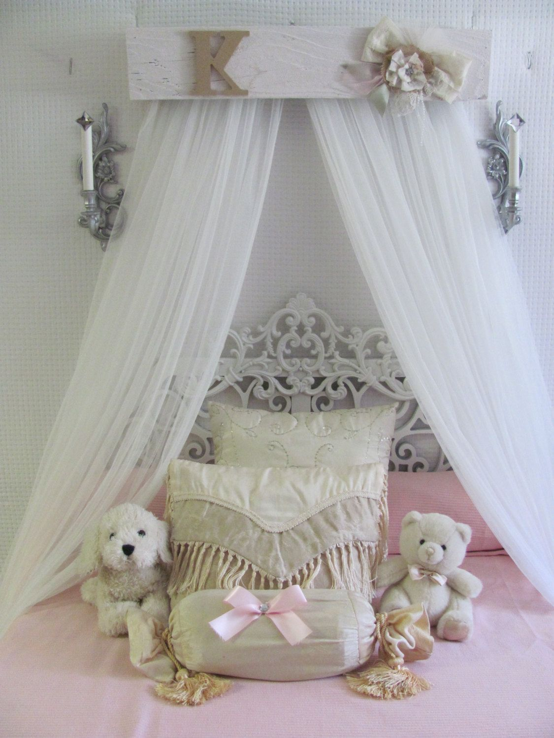 Shabby Chic Princess Bed Crown Canopy Crib Baby Nursery Decor Barnwood RuStiC Bedroom FREE White curtains & Shabby Chic Princess Bed Crown Canopy Crib Baby Nursery Decor ...