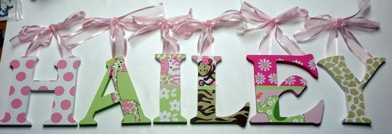 Jungle Jill Nursery Letters Hand Painted By