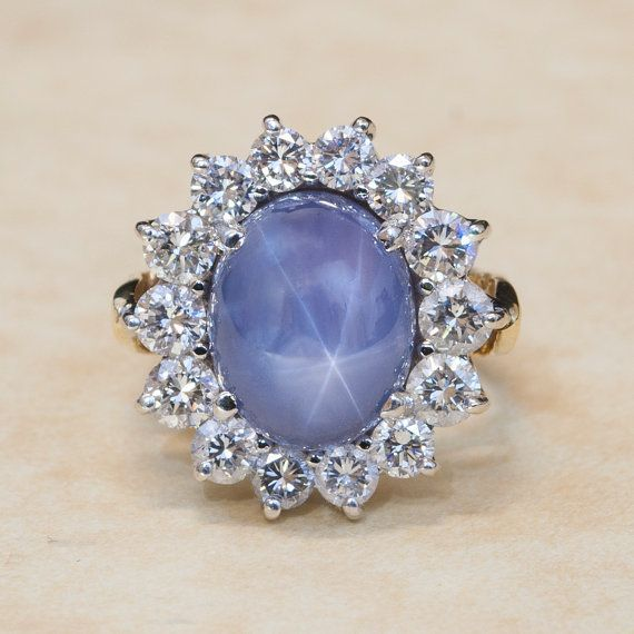 Items Similar To Vintage 18k Yellow And White Gold Diamond And Blue Star Sapphire Ring On Etsy Star Sapphire Ring Blue Star Sapphire Ring Jewelry