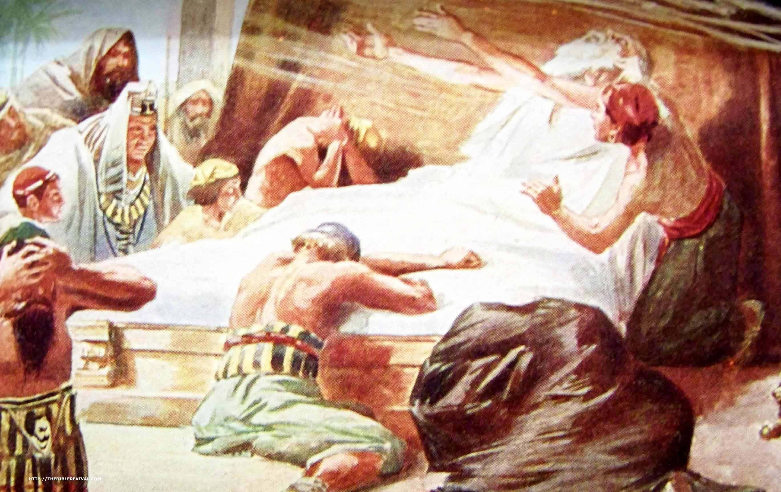 "Jacob Gives Up the Ghost. - Genesis 49:33, ""And when Jacob had made an end of commanding his sons, he gathered up his feet into the bed, and yielded up the ghost, and was gathered unto his people."" - http://access-jesus.com/Genesis/Genesis_49.html"
