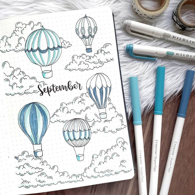 Plinth | Bullet Journal в Instagram: «September's theme got my head all caught up in the clouds ☁ cloud doodles inspired by @amandarachdoodles ' april bujo» #septemberbulletjournalcover