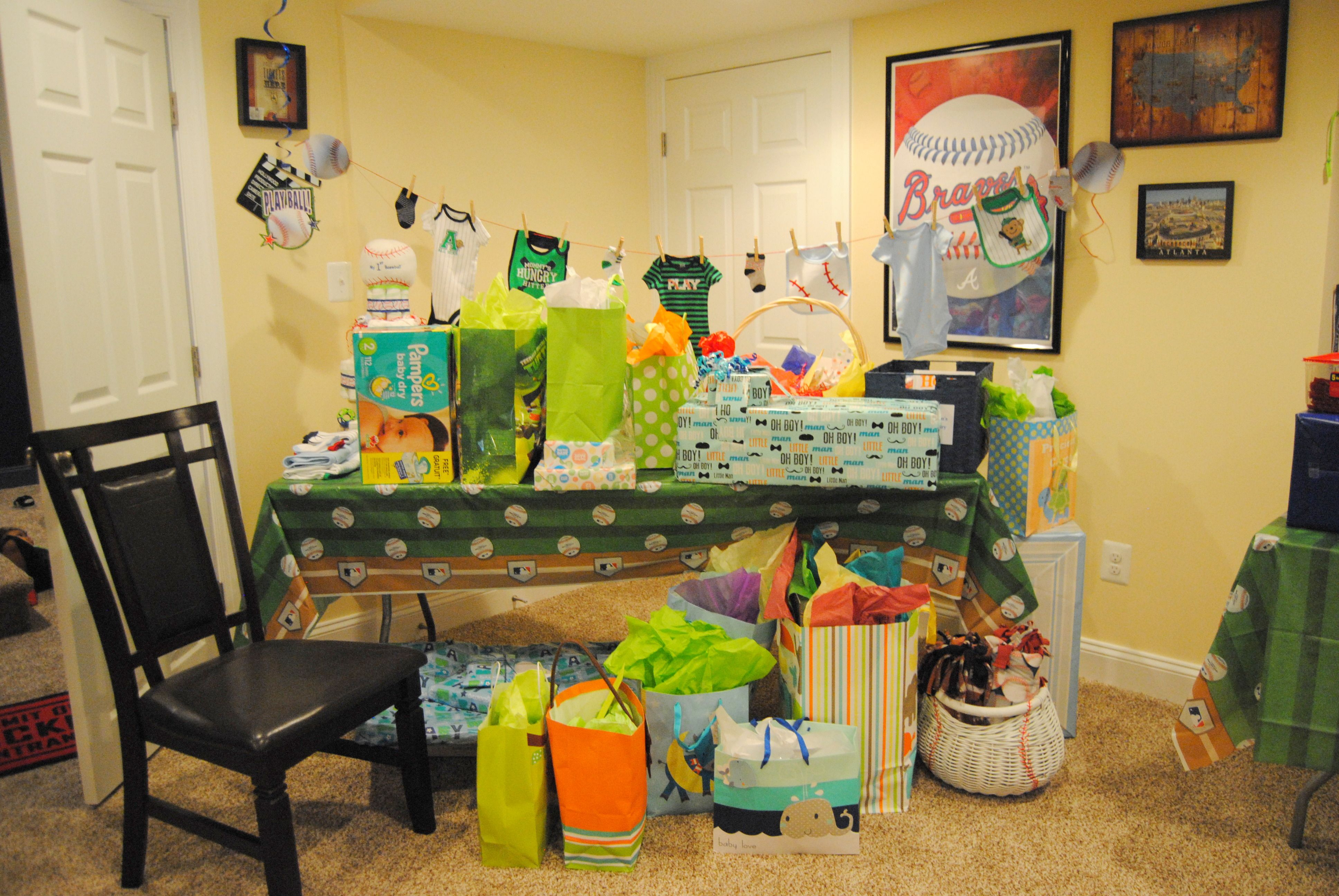 Gift table baseball themed baby shower for my grandson baseball themed baby shower gift table negle Gallery