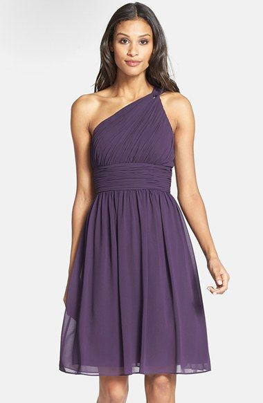 Donna Morgan Rhea One Shoulder Chiffon Dress Amethyst