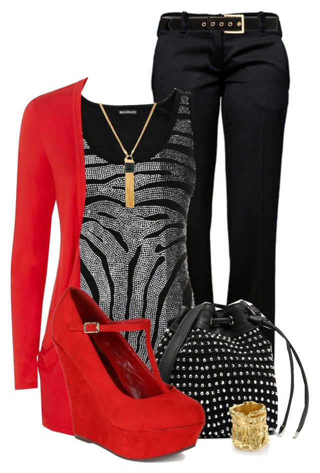 """""""Wedge Contest"""" by suzyk68 ❤ liked on Polyvore featuring Balmain, Henri Bendel, H&M, Forever New, Breckelle's and Alighieri"""