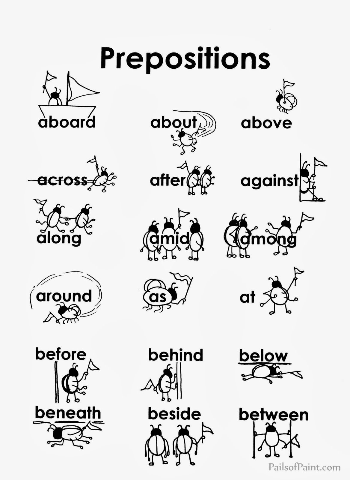 Preposition List Printable Worksheets