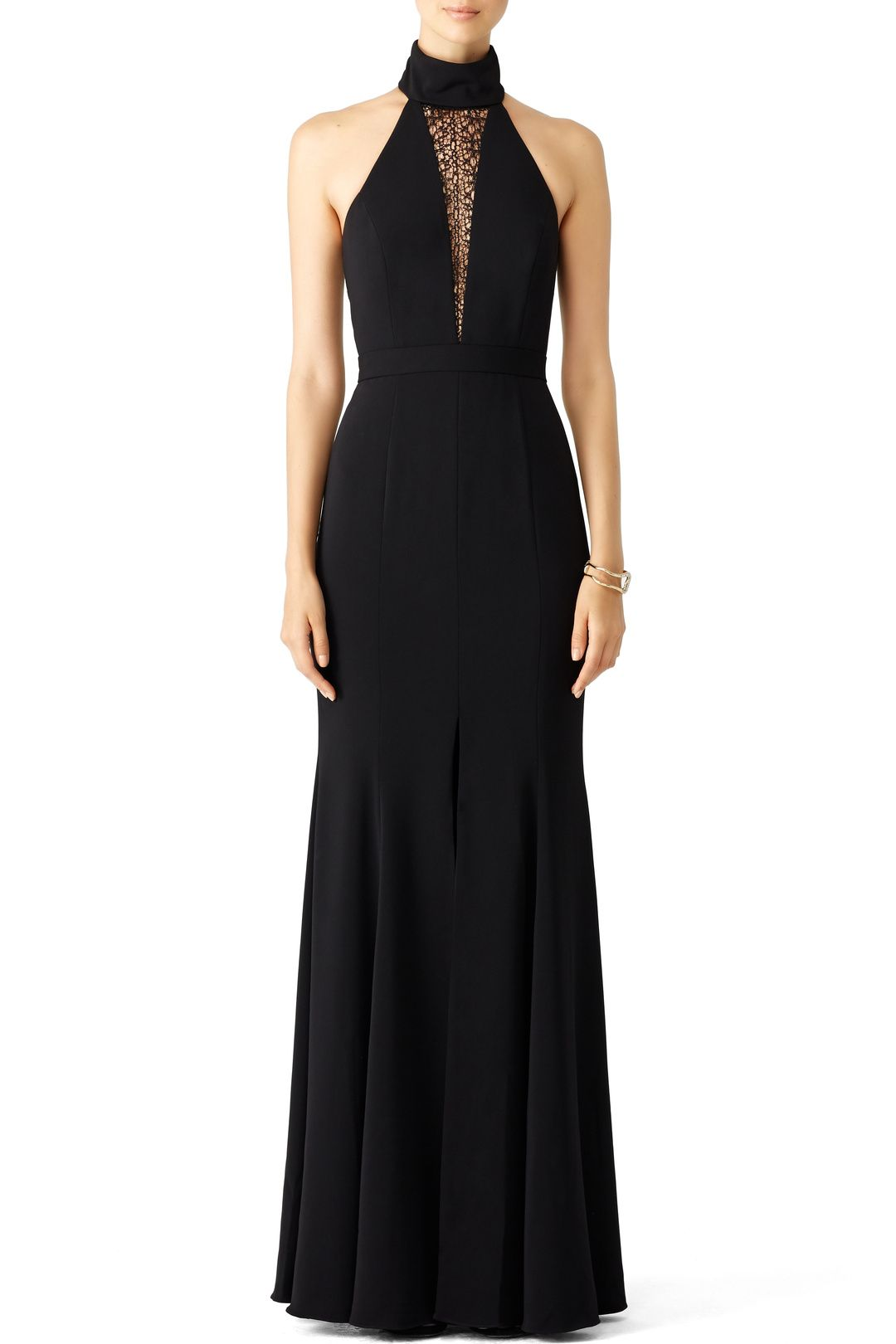 Rent black lace triangle gown by jay godfrey for only at rent