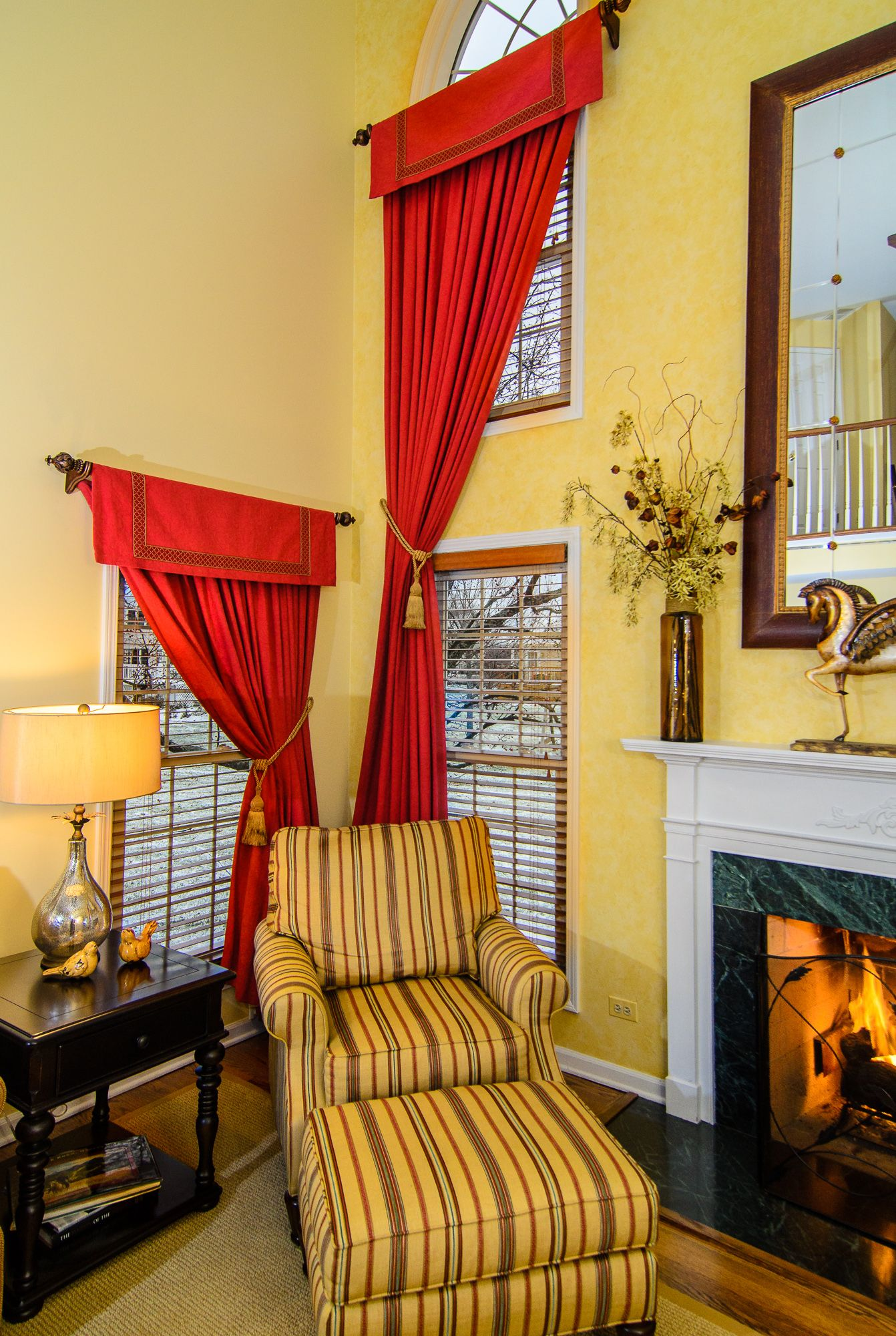 Window coverings for 2 story windows  two story draperies red drapes sunny gold family room angelo