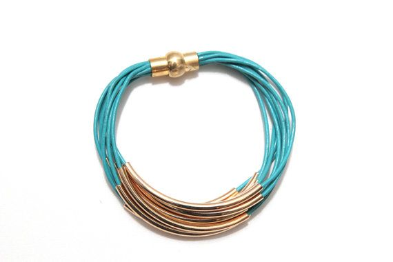 Gold Tube Turquoise Leather Cuff #Bracelet Multi by wrapsbyrenzel