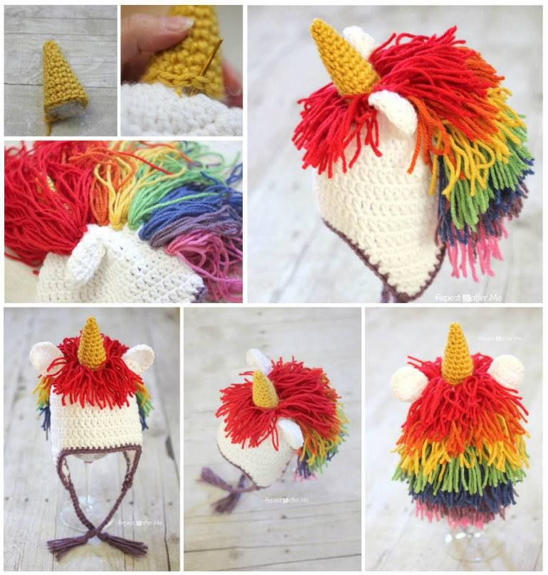 Crochet Unicorn Hat Tutorial Easy Free Pattern | Tejido, Tías y Gorros