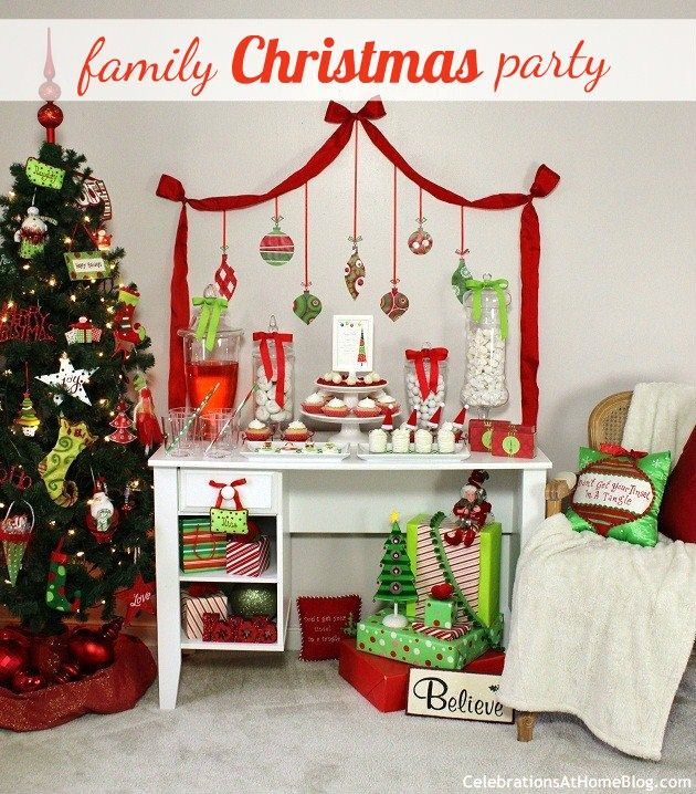 Traditional Red Green Family Friendly Christmas Party Ideas Celebrations At Home Christmas Party Family Christmas Party Christmas Party Decorations