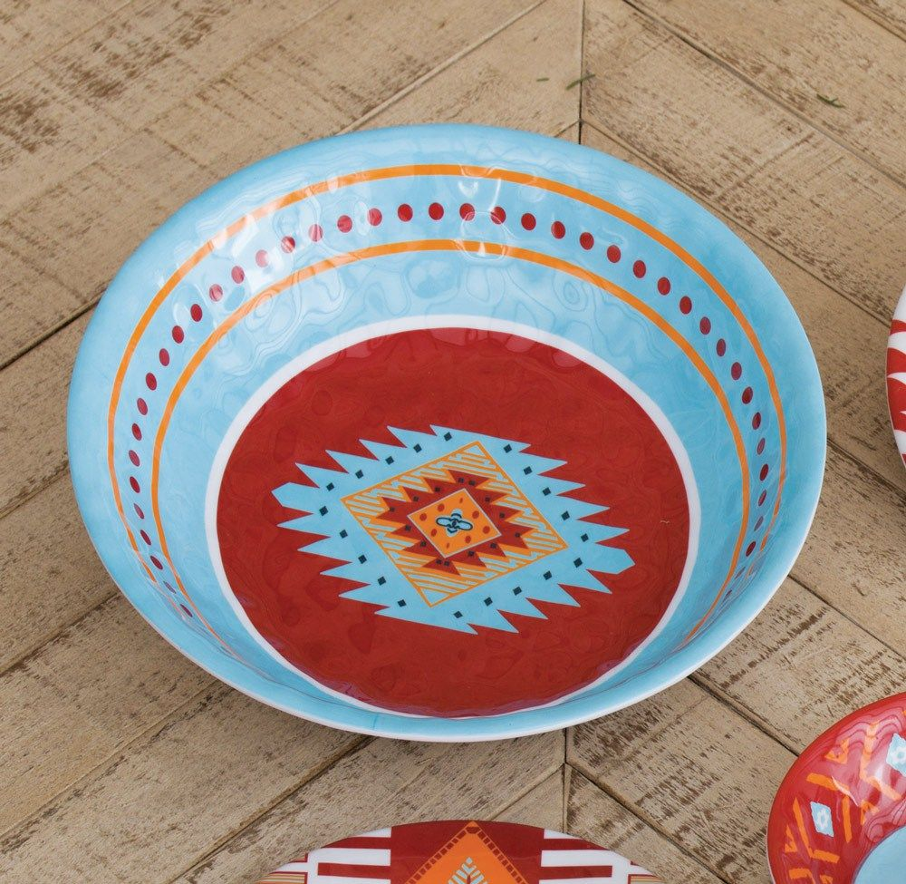 Melamine dinnerware is perfect for outdoor cookouts. Our lightweight serving bowl features vibrant southwestern colors \u0026 patterns.  sc 1 st  Pinterest & Melamine Dinnerware \u2013 Colorful Melamine Serving Bowl | Kitchen ...