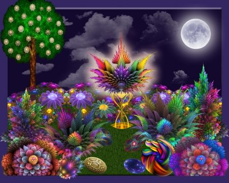 Full Moonlight Garden✰   3D And CG U0026 Abstract Background .