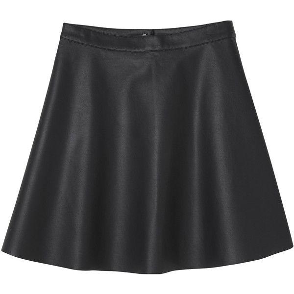 Monki Trixi skirt (1.225 RUB) ❤ liked on Polyvore featuring skirts, bottoms, black, monki, black magic, skater skirt, black faux leather skirt, black knee length skirt, faux leather skater skirt and knee length skater skirt