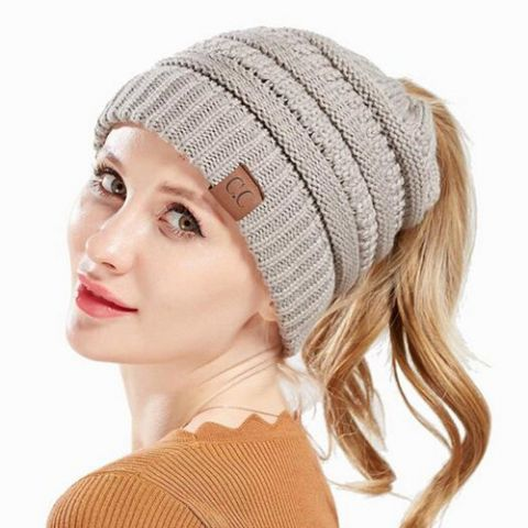 393e4f3ef04 Ponytail knit hat beanie with hole on top for women messy bun toboggan  winter hats
