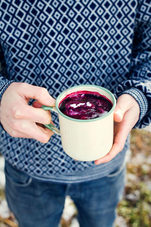 hemmagjord blåbärssoppa ] låt 4 dl frysta blåbär koka upp