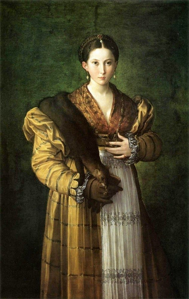 Maria Antea Parmigianino ca 1534 Her hair is fantastic and Ilove her wrap partlet. Striped silk gown is amazing