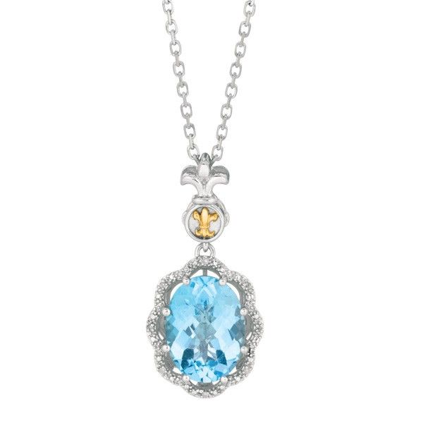 Fancy blue topaz and diamond pendant in 18k yellow gold and fancy blue topaz and diamond pendant in 18k yellow gold and sterling silver description from aloadofball Image collections