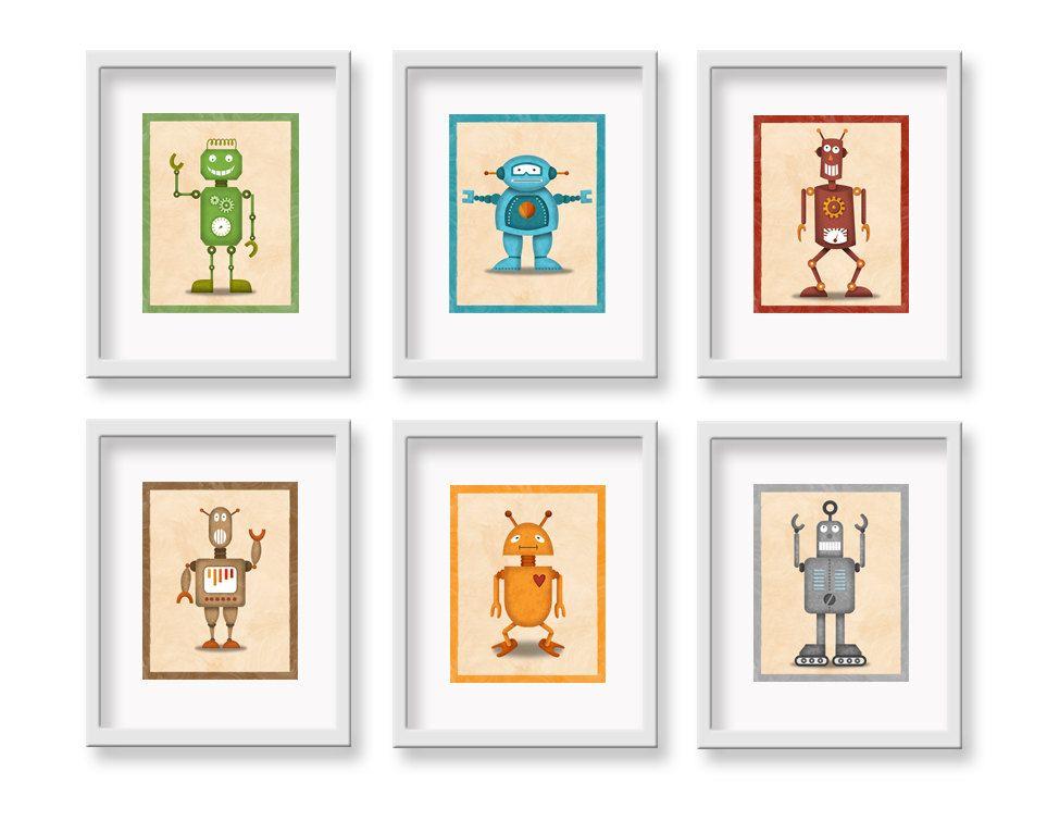 Robot print 6 piece robot set 8 x 10 children 39 s for Robot room decor