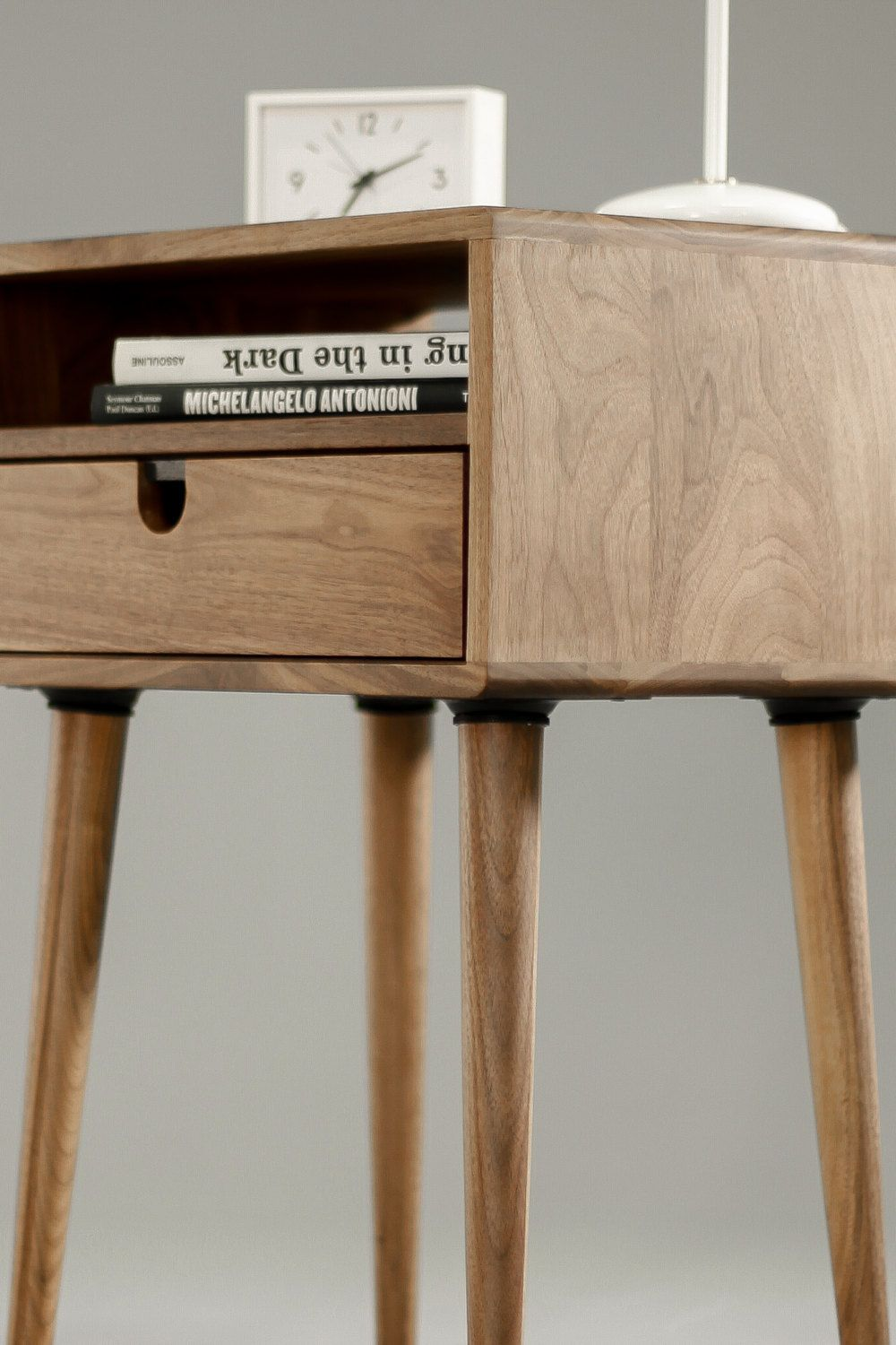 Mid Century Nightstand Bedside Table With Drawer In Solid Etsy Bedside Table Scandinavian Mid Century Nightstand Walnut Table