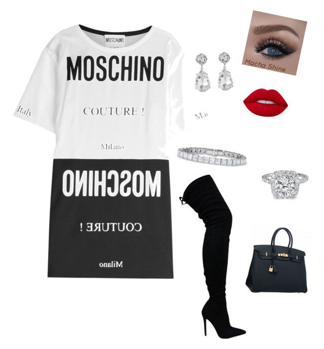 """""""Untitled #7"""" by aieasham on Polyvore featuring Moschino, Lime Crime, Hermès and Kenneth Jay Lane"""