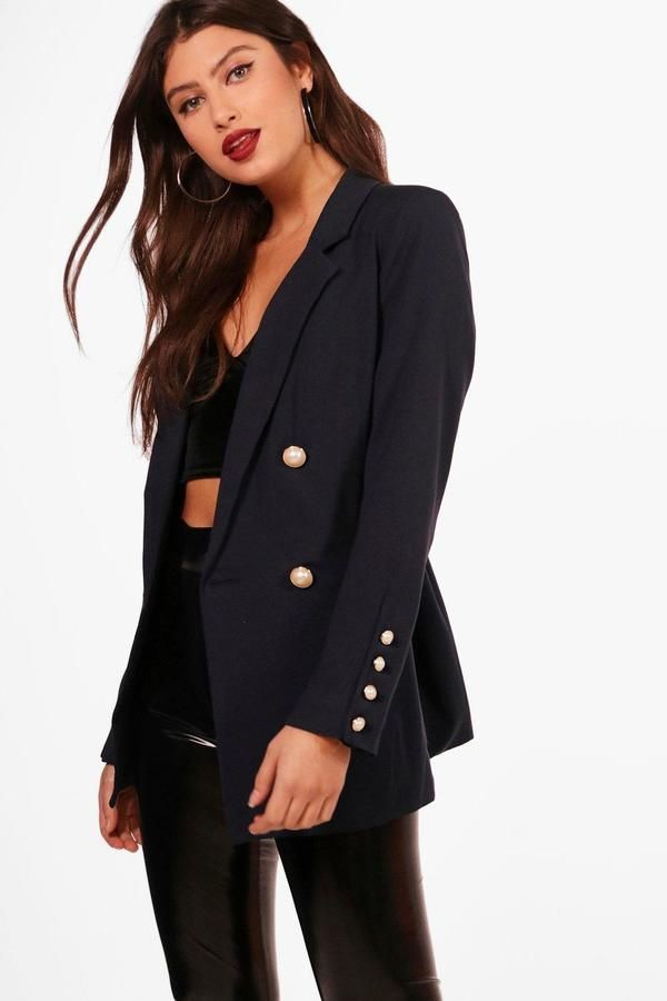 c3581742c17b2 boohoo Kodie Double Breasted Pearl Button Blazer