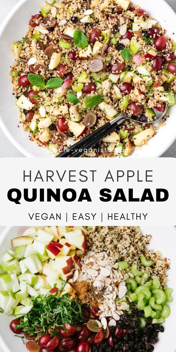 Apple Quinoa Salad An Easy Fall Recipe With Heart Healthy Quinoa Crisp Apples Juicy Gr In 2020 Quinoa Recipes Healthy Vegan Salad Recipes Clean Eating Vegetarian