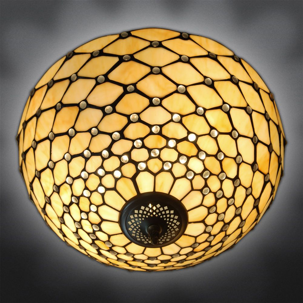 Ceiling lamp with gems | Tiffany style ceiling lamp with hand worked and welded glass lampshade