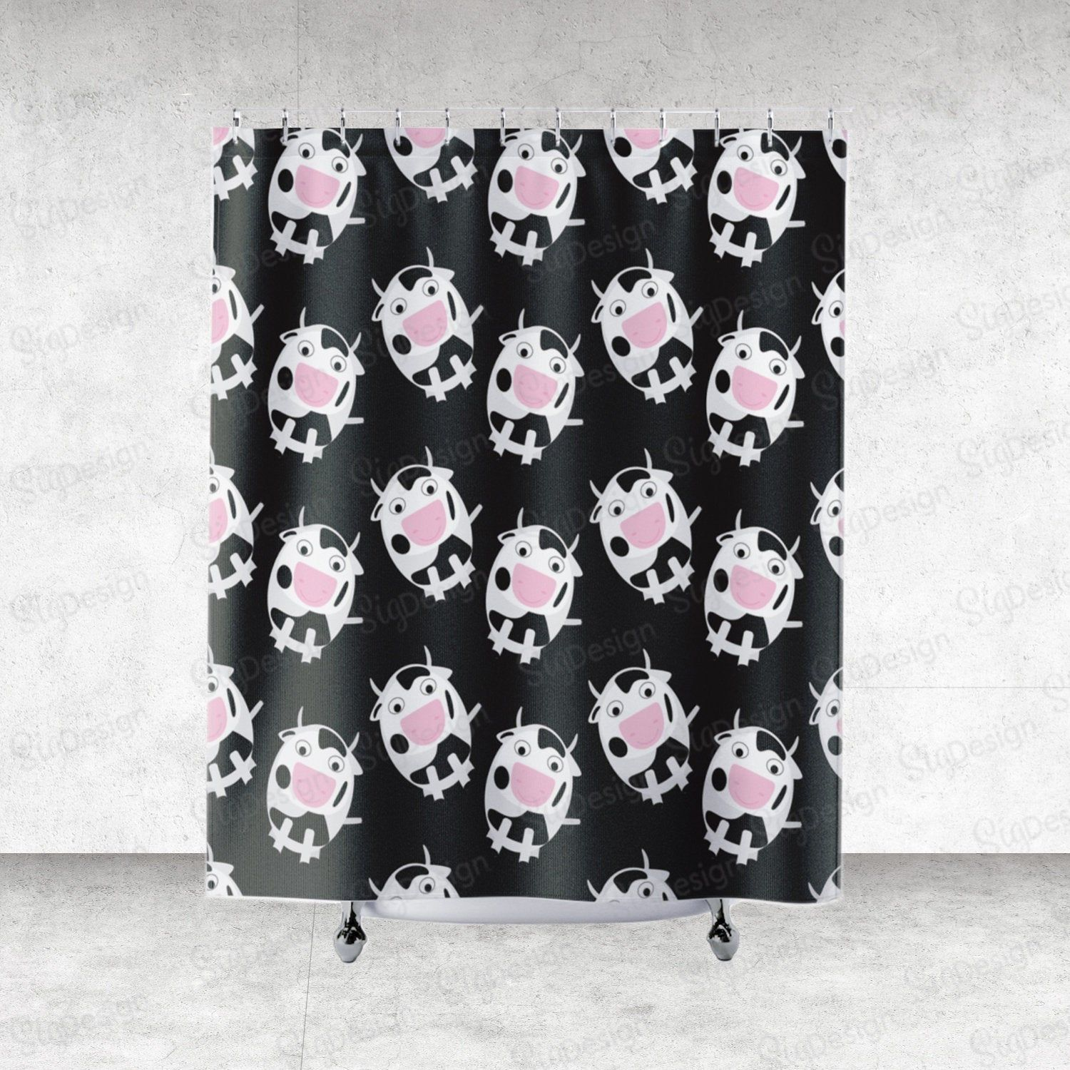Black And White Cows Shower Curtain Bath Curtain With Cute Cows