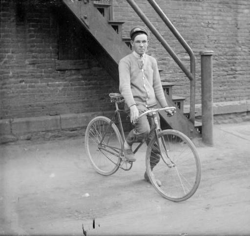 Bicycle Messenger In Denver Colorado Between 1910 And 1920 With